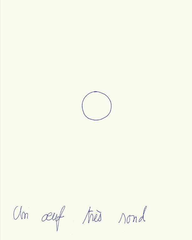 Claude Closky, 'Un œuf très rond [a very round egg]', 1994, ballpoint pen on paper, 30 x 24 cm.